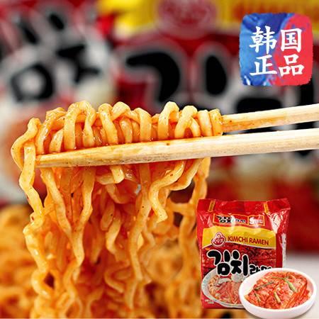 韩国进口速食泡面微辣奥土基不倒翁泡菜拉面 即食煮面五连包600g