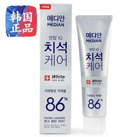 韩国进口正品 爱茉莉麦迪安86牙膏 美白强效去黄渍去牙结石 白色 120g