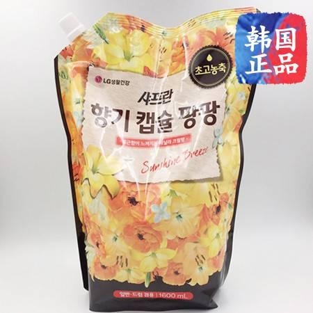 韩国进口LG柔顺剂高浓缩衣物清香清顺柔软防静电袋装1600ml