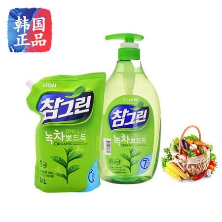 韩国进口常绿秀手绿茶洗洁精 LION洗涤剂水果蔬菜洗洁精不伤手 1kg/1.2kg
