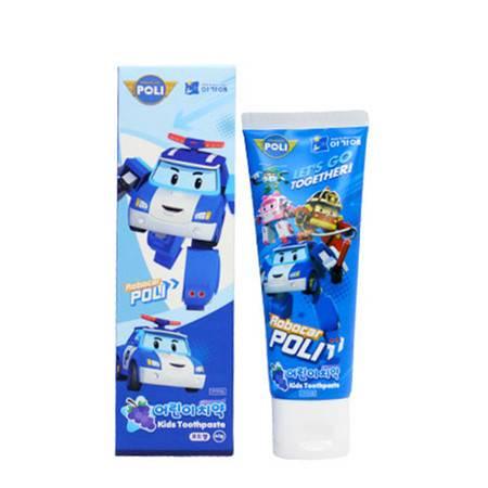 我珂爱变形警车珀利POLI儿童牙膏宝宝2-3-12岁可吞咽护齿防蛀果味 60g