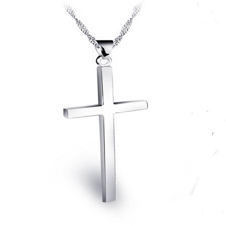 ARMASA/阿玛莎 阿玛莎 简约光面925银十字架项链情侣吊坠男女欧美时尚银饰品锁骨