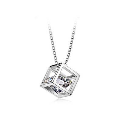 ARMASA/阿玛莎S925银立体魔方锆石项链套链锁骨链时尚简约大方送情人女友送自己