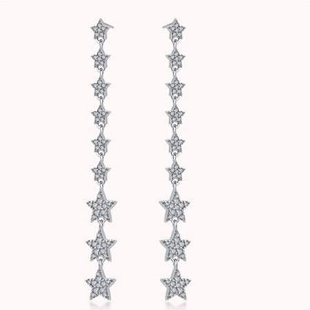 ARMASA/阿玛莎 S925银五角星长款星星耳环耳吊耳坠时尚流行饰品生日送女朋友礼物