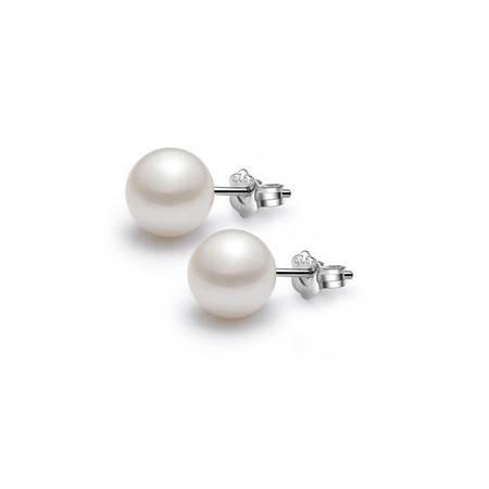 ARMASA/阿玛莎 925银淡水珍珠近正圆耳钉耳环附证书时尚简约款