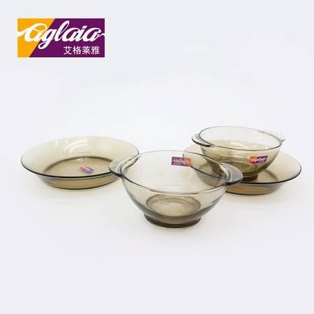 艾格莱雅 康馥系列 简约欧式玻璃创意家用餐具 【四件套】耳朵碟*2深碗*2