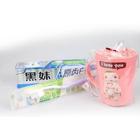 180g黑妹原齿白(湖盐原白)牙膏+草珊瑚牙刷 (送漱口杯)