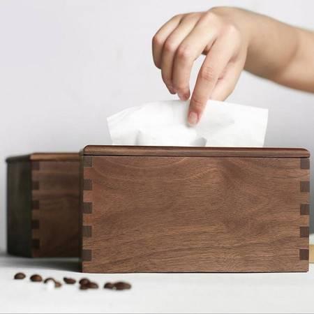季丝影 黑胡桃木创意家用客厅纸巾盒20*12*10cm 实木简约酒店民宿抽纸盒