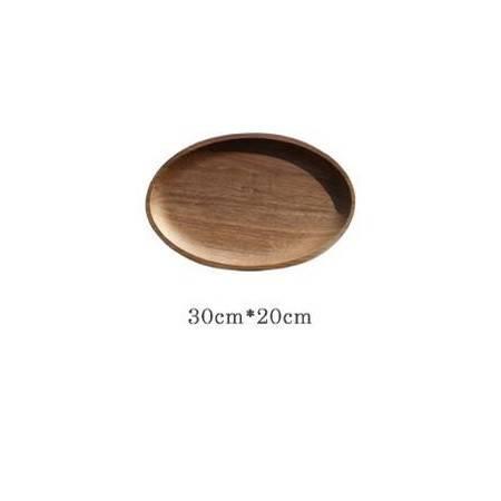 季丝影 椭圆形(无抓手)木盘30*20*2cm 创意带抓手酒店餐厅实木托盘 水果披萨木餐盘