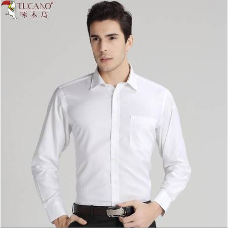 啄木鸟纯白衬衫商务正装白色暗条纹男士长袖纯棉免烫衬衣春夏薄款