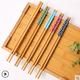 天然楠竹筷子创意5色碎花24cm网红家用樱花防滑一人家庭耐高温