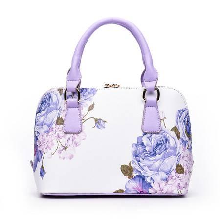 迪阿伦 新款手提包欧美经典花卉贝壳包复古印花斜挎小包