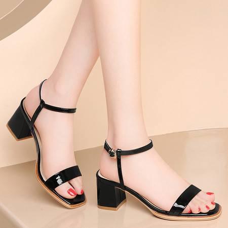 古奇天伦凉鞋女2021新款夏季头层牛皮粗跟时尚简约时装一字带中跟真皮女鞋