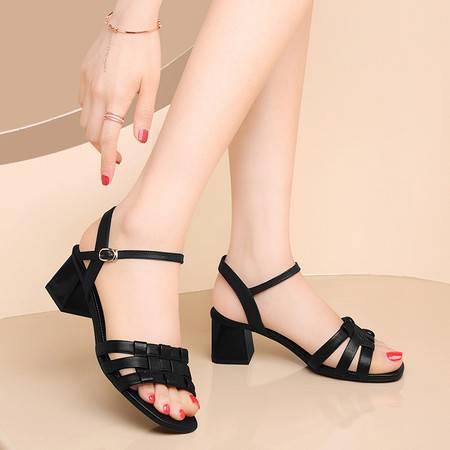 古奇天伦黑色真皮凉鞋女中跟粗跟2021新款夏季女鞋中年妈妈鞋子软皮高跟鞋
