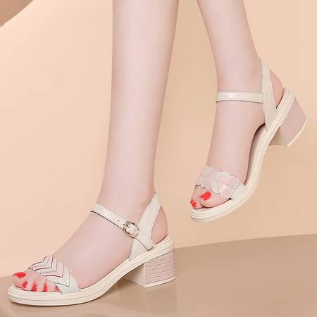 古奇天伦凉鞋女2021新款夏季头层牛皮露趾粗跟时尚简约时装一字带中跟扣带拼色女鞋