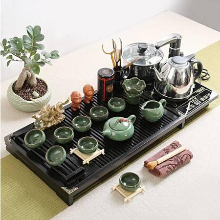 四合一电磁炉紫砂茶具套装 家用实木茶盘陶瓷紫砂功夫茶具整套茶道茶海茶台茶杯