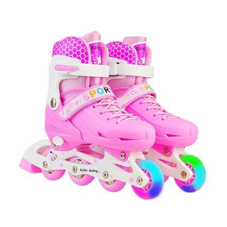 溜冰鞋儿童全套装男女直排轮旱冰鞋轮滑鞋可调闪光初学者
