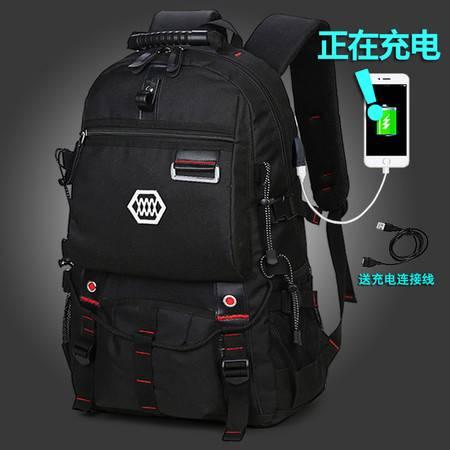 新款旅行欧美大容量书包户外登山行李袋旅游背包时尚电脑双肩包男可充电款