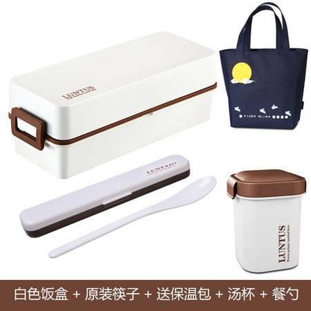 双层饭盒日式便当盒分格饭盒男女生大午餐盒可微波830ml