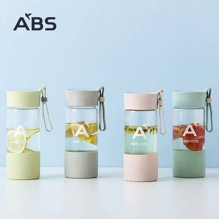 ABS爱彼此 耐热玻璃个性随行杯字母杯玻璃杯随手杯(400ml)