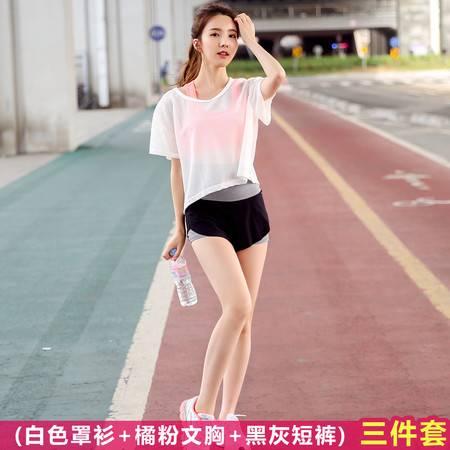 R韩国网纱瑜伽服套装跑步运动文胸修身透气罩衫三件套女健身服