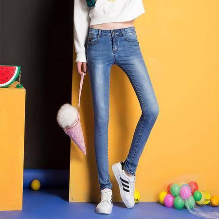 WM时尚新款女式显瘦修身牛仔裤百搭潮流韩版小脚裤