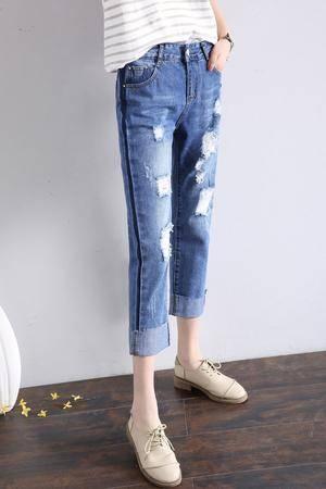 WM夏季新款时尚直筒牛仔裤女卷边宽松阔腿显瘦哈伦九分裤