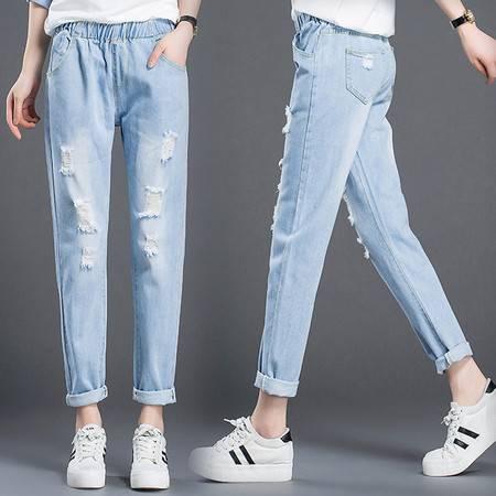 ZTHS-3XL 1688牛仔裤秋季新品韩国东大门大码宽松破洞牛仔裤