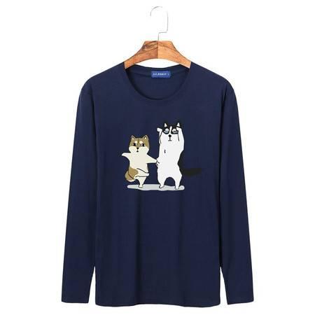 JN新款宽松学生运动男式长袖T恤男款纯棉印花圆领卡通衫情侣狗
