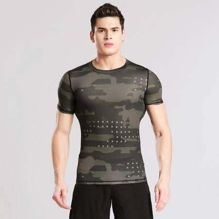 YG短袖紧身衣健身服男士运动户外迷彩服吸汗速干服篮球跑步T恤