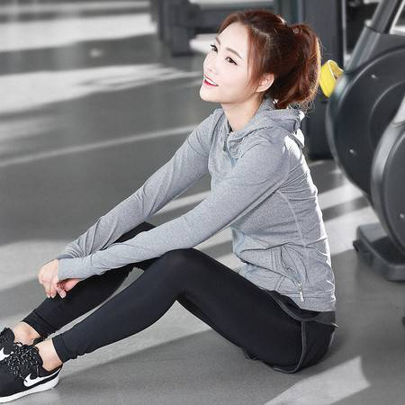 YG长袖瑜伽服套装显瘦运动防震文胸速干户外健身套装女三件套