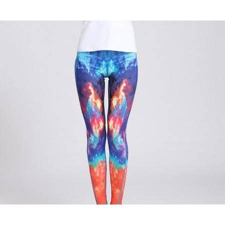 YG新款星空印花瑜伽裤女速干紧身裤跑步运动健身服高弹吸湿踩脚长裤