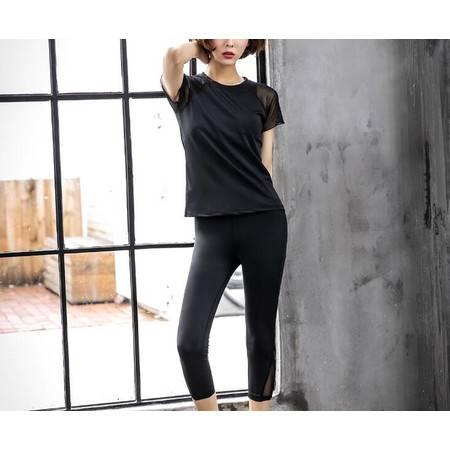 YY韩版新款瑜伽服夏季秋健身跑步三件套短袖网纱拼接锦纶运动套装女