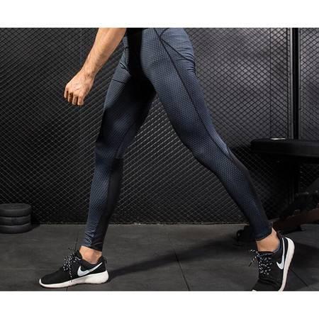 Y男士3D立体印花 PRO健身跑步训练 amazon速干弹力紧身长裤4010