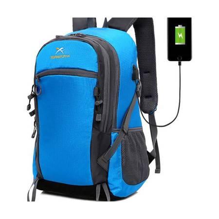 XY新款夏季USB充电包男士运动双肩包 女户外旅行背包