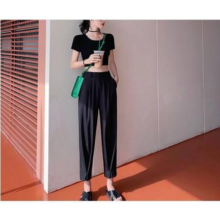 【与恩君9112】港风西装裤女夏薄款垂感阔腿宽松显瘦高腰休闲裤子