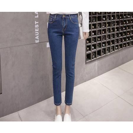 FX2019牛仔裤女高腰小脚铅笔裤黑色九分裤春秋新款韩版显瘦