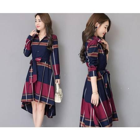 LR2019春秋季新款格子衬衫收腰时尚不规则中长款端庄大气连衣裙