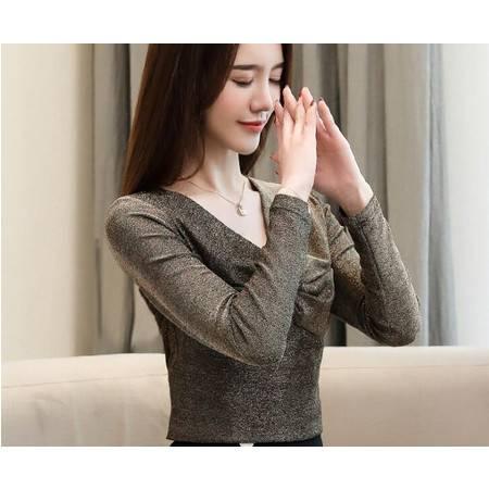 LR新秋款v领长袖新款韩版修身上衣服春装纯色性感打底衫
