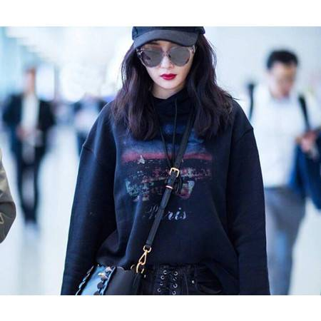 FX2019秋季新款杨幂明星同款连帽黑色宽松星球卫衣女外套