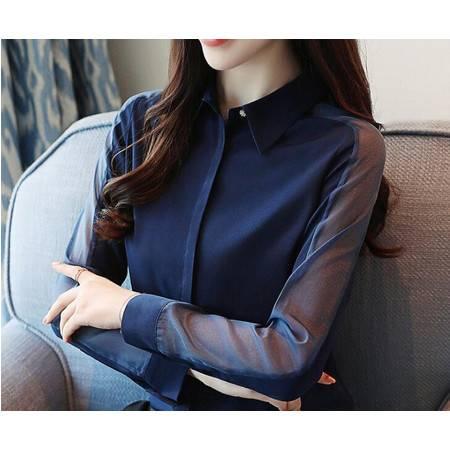 LR新款衬衫女长袖大码雪纺休闲上衣韩版女士职业工装衬衣潮