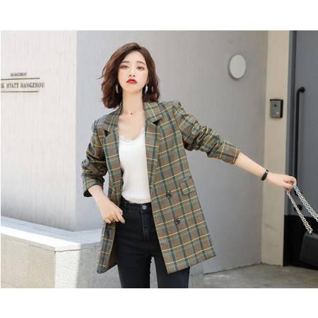 秋季新款女装 时尚气质修身格纹西服外套双排扣格子小西装女