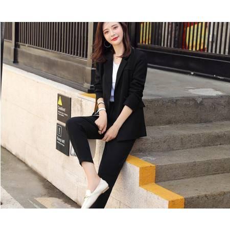 秋季新款女装气质OL双排扣修身小西装休闲裤两件套西服套装女