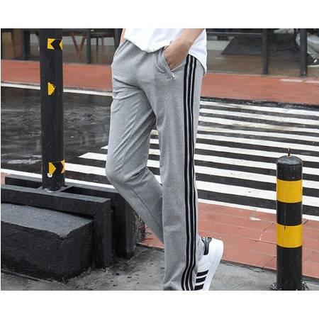 男士运动裤男式休闲裤纯棉直筒宽松三条杠大码卫裤学生运动长裤子