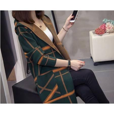 LR2019大码女装宽松开衫毛衣外套中长款早秋新款针织衫女