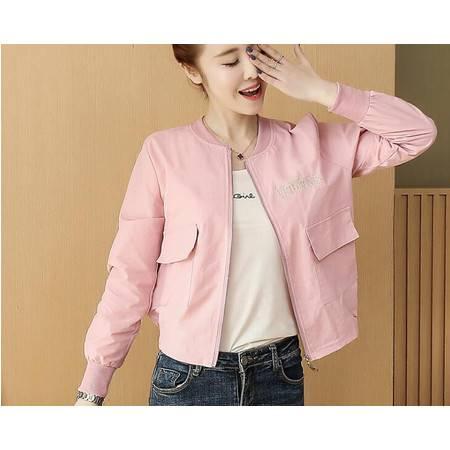 JY春季韩版新款短款棒球服显瘦时尚字母刺绣休闲小外套女
