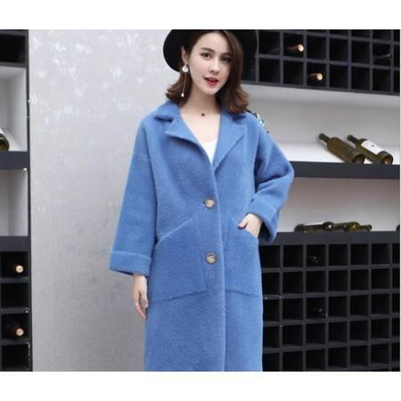 仿貂绒大衣秋冬新款纯色女装韩版中长款加厚毛衣针织开衫外套
