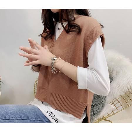 韩版坎肩V领宽松针织马甲春季新款套头毛衣女装无袖背心外套