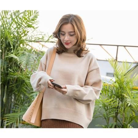 秋冬季女装新款韩版宽松大码休闲针织衫慵懒风高领毛衣女