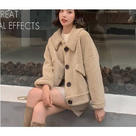 彩黛妃羊羔毛外套冬新款女百搭短款韩版网红同款皮毛一体女士羊羔绒